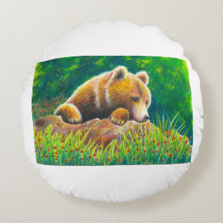 Grizzly Bear wildlife art Round Pillow