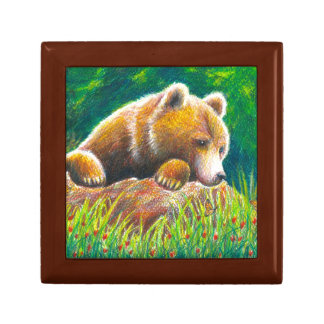 Grizzly Bear wildlife art Trinket Box