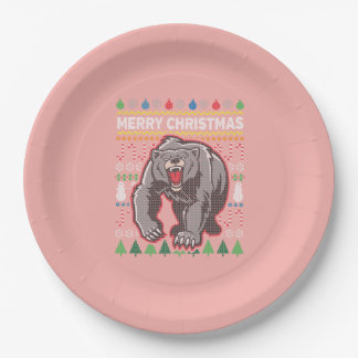 Grizzly Bear Wildlife Merry Christmas Ugly Sweater 9 Inch Paper Plate