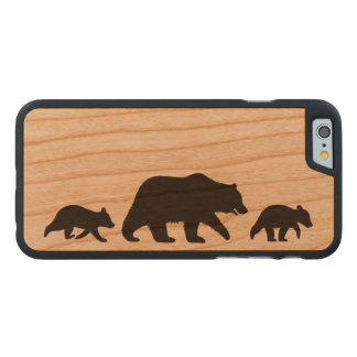 Grizzly Bear with Cubs Silhouettes Carved Cherry iPhone 6 Case