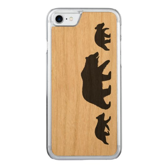 Grizzly Bear with Cubs Silhouettes Carved iPhone 7 Case