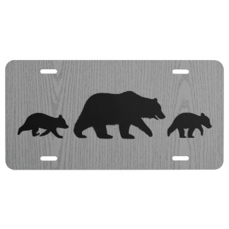 Grizzly Bear with Cubs Silhouettes License Plate