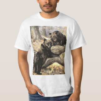 Grizzly Bears by CE Swan, Vintage Forest Animals T-Shirt