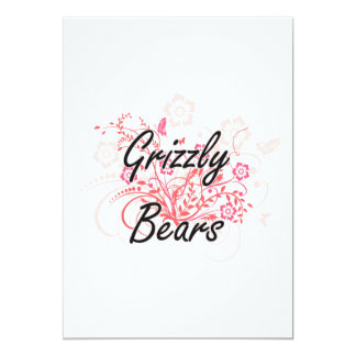 "Grizzly Bears with flowers background 5"" X 7"" Invitation Card"