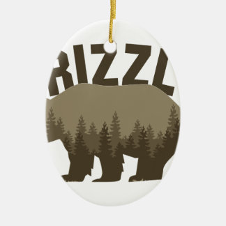 Grizzly Ceramic Oval Ornament