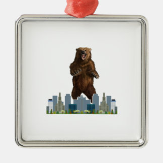 Grizzly Launch Silver-Colored Square Ornament