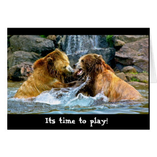 Grizzly playtime greeting card