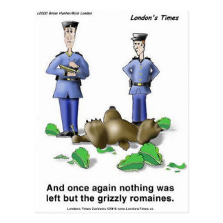 Grizzly Romaines Bear/Lettuce Cartoon Gifts & Tees Postcard