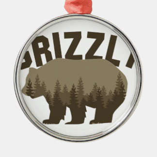 Grizzly Silver-Colored Round Ornament