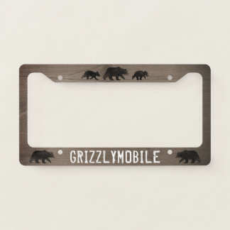 Grizzlymobile - Bear Silhouettes Custom License Plate Frame