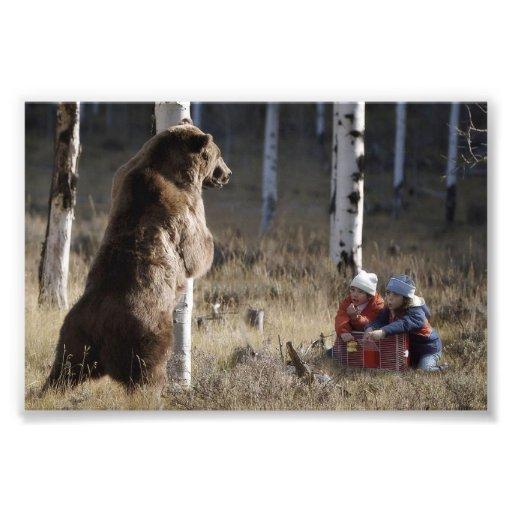 Grizzy Bear & 2 Kids Photographic Print