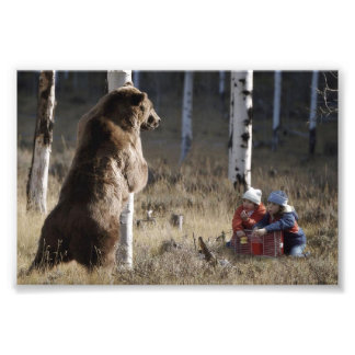 Grizzy Bear & 2 Kids Photographic Print