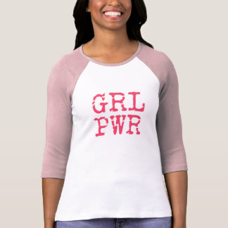 GRL PWR (girlpower) - Fun quote 3/4 sleeve T-shirt