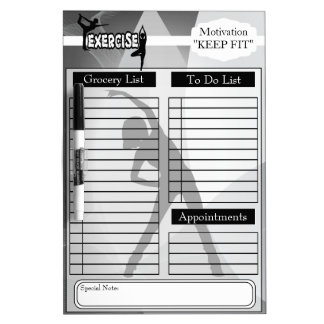 Grocery and To Do List and More - Keep Fit Dry Erase Board