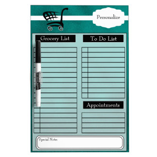 Grocery and To Do List and More - Teal Dry Erase White Board