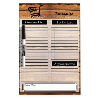 Grocery and To Do List - Wood Dry Erase White Board