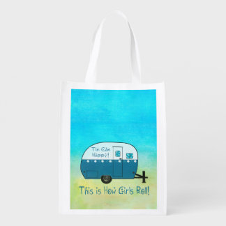 GROCERY BAG | Vintage Camper | Reusable Fold-Down
