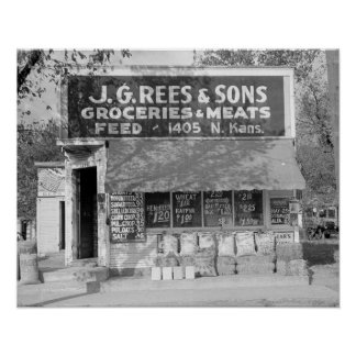 Grocery & Feed Store, 1938. Vintage Photo Poster