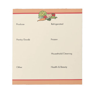 Grocery List by Category Notepad