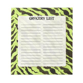 Grocery List Lime Black Zebra Stripe Print Art Notepad