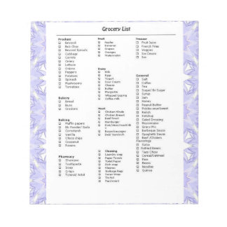 Grocery List Reminder with Pattern Purple Notepad