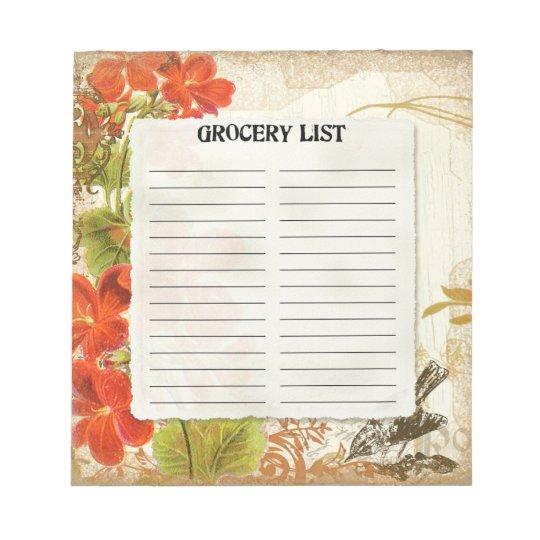 Grocery List Vintage Botanical Orange Nasturtium Notepad