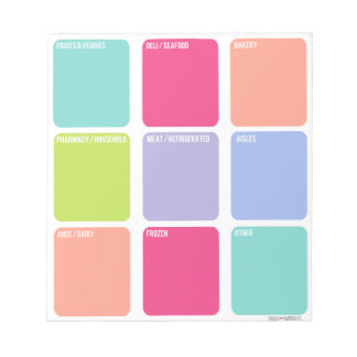 Grocery Shopping List Note Pad