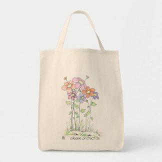 grocery tote bag:  flowers