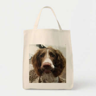 Grocery tote bag. Jasper smiles
