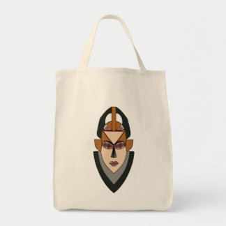 Grocery Tote Bag with African Female Warrior Mask