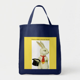 GROCERY TOTE BAG WITH VINTAGE BUNNY