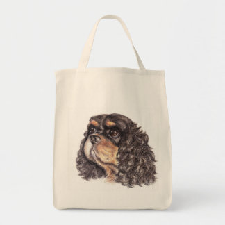 Grocery Tote with Max The Cavalier