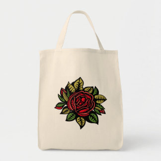 Grocery tote with rose