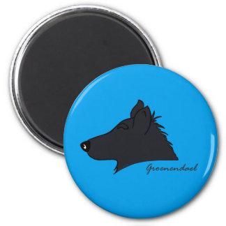 Groenendael head silhouette 2 inch round magnet