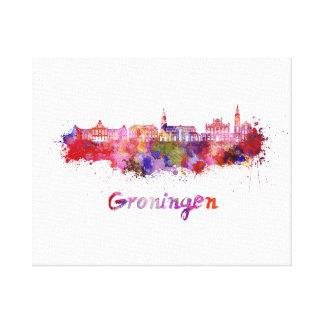 Groningen skyline in watercolor canvas print