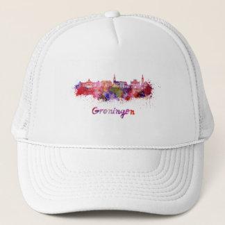 Groningen skyline in watercolor trucker hat