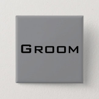 Groom 2 Inch Square Button