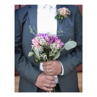 Groom and his Bride's Bouquet Letterhead Design