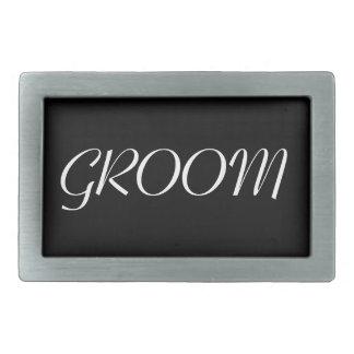 Groom Belt Buckle - Black and White