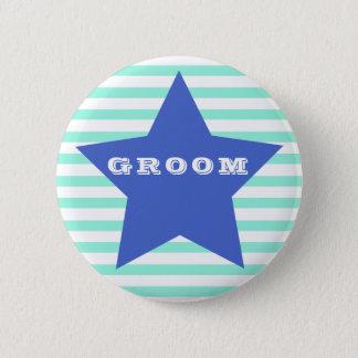 GROOM | Big Navy Blue Star & Teal Stripes Button