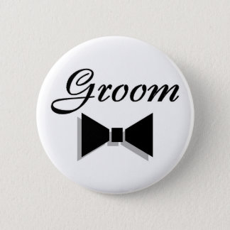 Groom (Black Bow Tie) 2 Inch Round Button