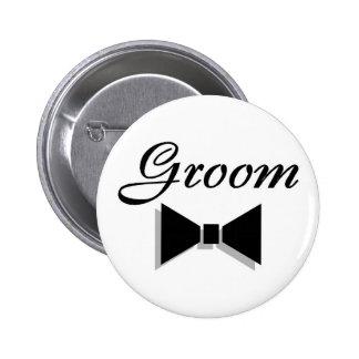 Groom (Black Bow Tie) 2 Inch Round Button