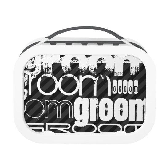 Groom; Black & Dark Grey Stripes Lunch Box