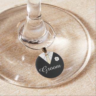 Groom Black Wedding Suit Toast Wine Charms