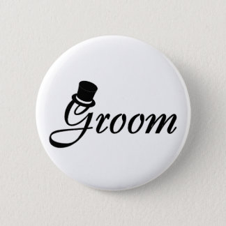Groom (Blk Top Hat) 2 Inch Round Button
