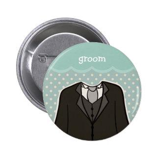Groom // BLUE 2 Inch Round Button