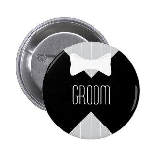Groom Bowtie & Stripes 2 Inch Round Button