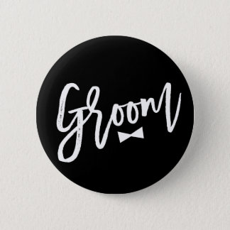 Groom Brush Bow Tie Wedding Bridal Party Button