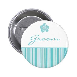 Groom Button-Modern Stripes Blue