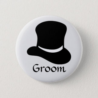 """Groom"" Button with Top Hat"